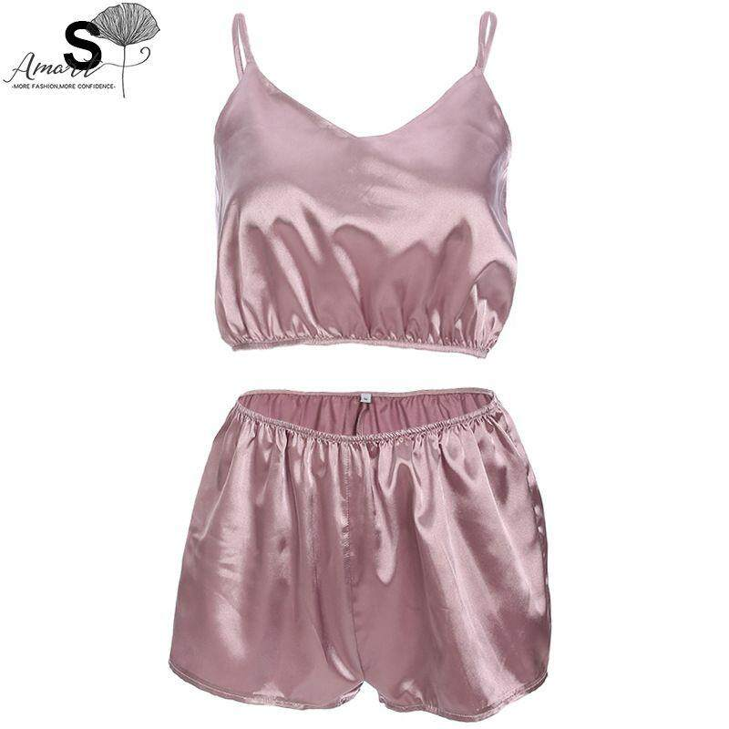 Amart Fashion Summer Women Satin Pajamas Set Sexy Spaghetti Strap V Neck Shorts Sleepwear