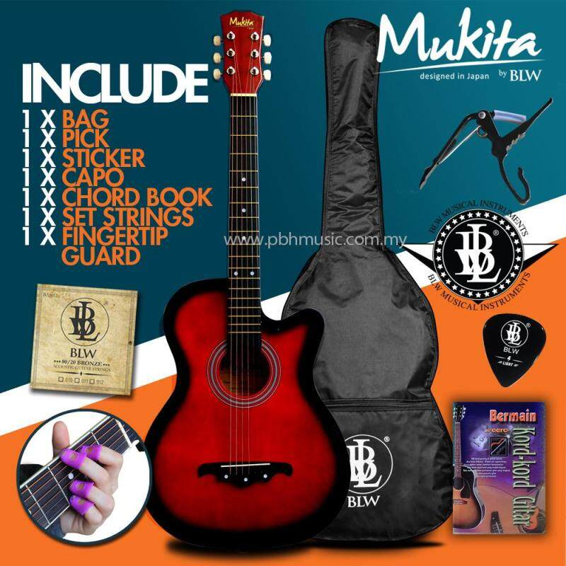Mukita by BLW Standard Acoustic Folk Cutaway Basic Guitar Package 38 Inch for beginners with Bag, String Set, Fingertip Guard, Capo, Chord book, Pick and Merchandise Sticker (Red) Malaysia