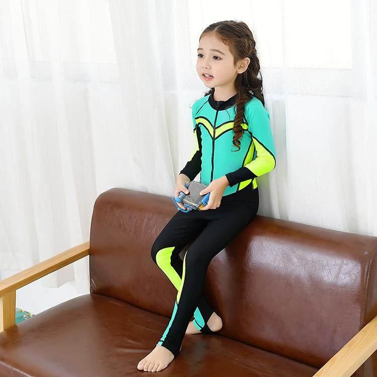 e076d5474c China. Children Girls Wetsuits Long Sleeve Swimwear Kids Diving Snorkeling  Suit Beachwear Sun UV Protection Bathing Suit