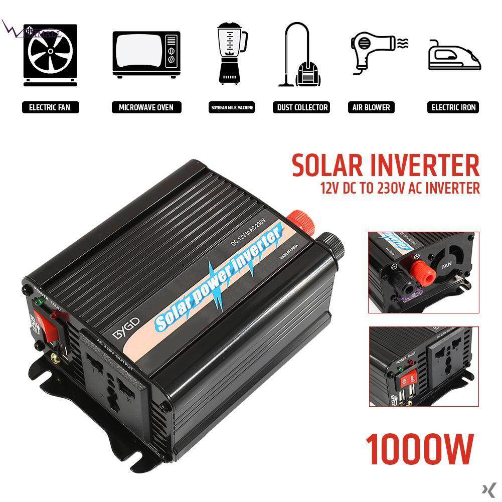 Wishmall Car Inverter Converter Solar Power Inverter 1000W DC12V To AC220V