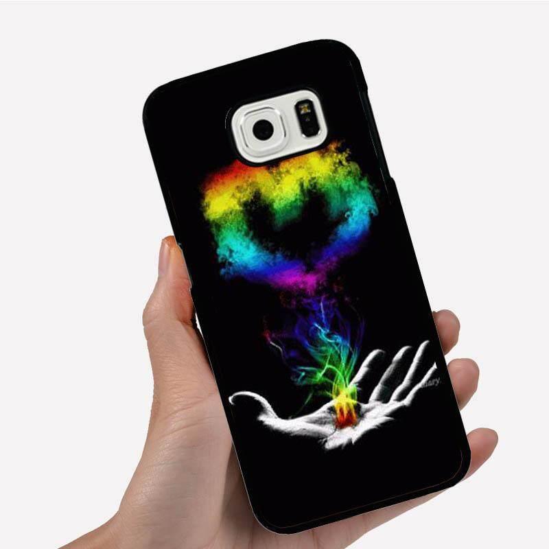 Casing Ponsel untuk Samsung Galaxy Note 5 Edge dengan Tangan Ganti Yang Bentuk Hati Warna-warni Gambar Kartun Pola Plastik Anti-Knock telepon Case Cover