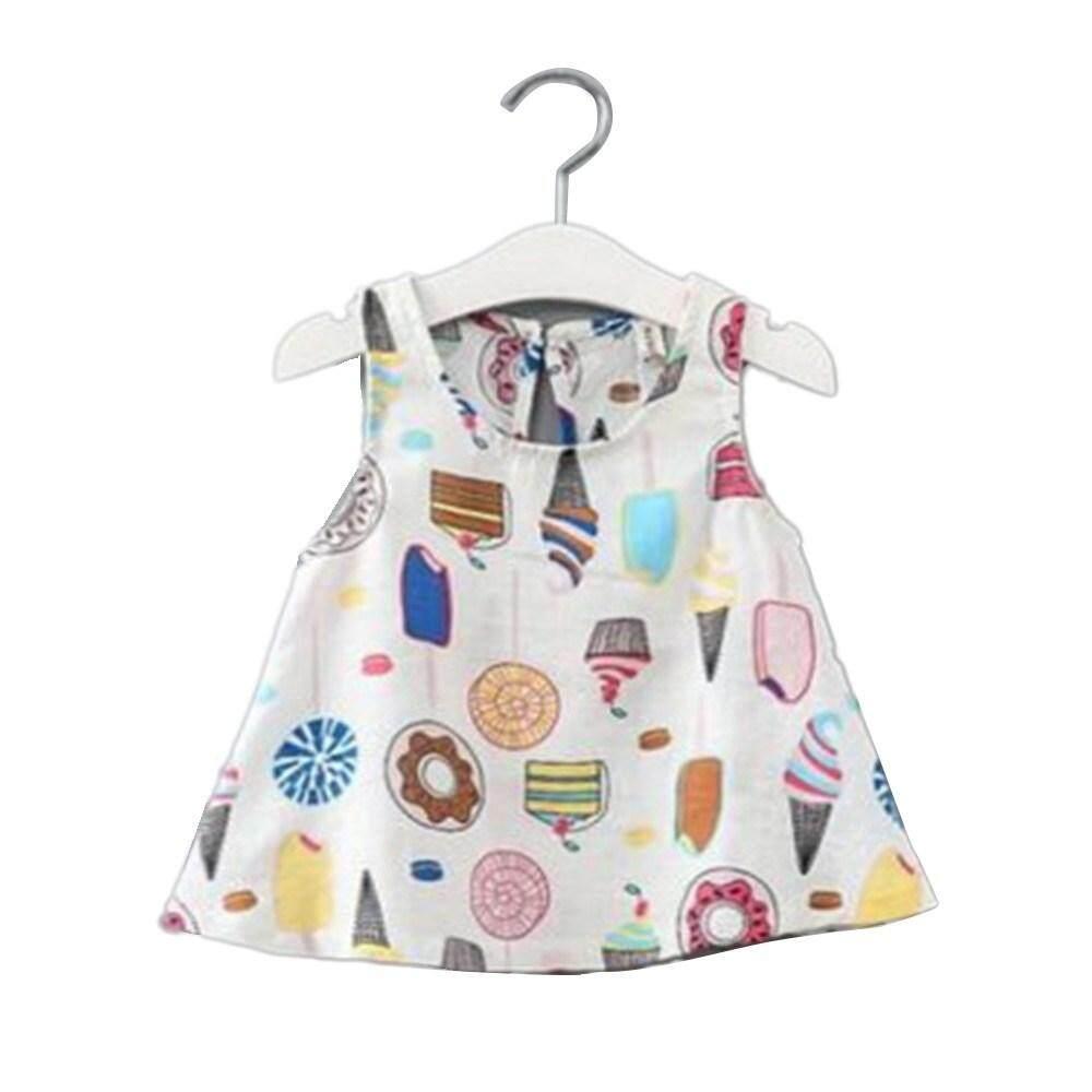 M_home 100 Cm Warna Musim Panas Es Krim Cetak Gadis Linen Rompi Katun Gaun Gaun Tanpa Lengan Gaun Halter Putih/Biru-Intl