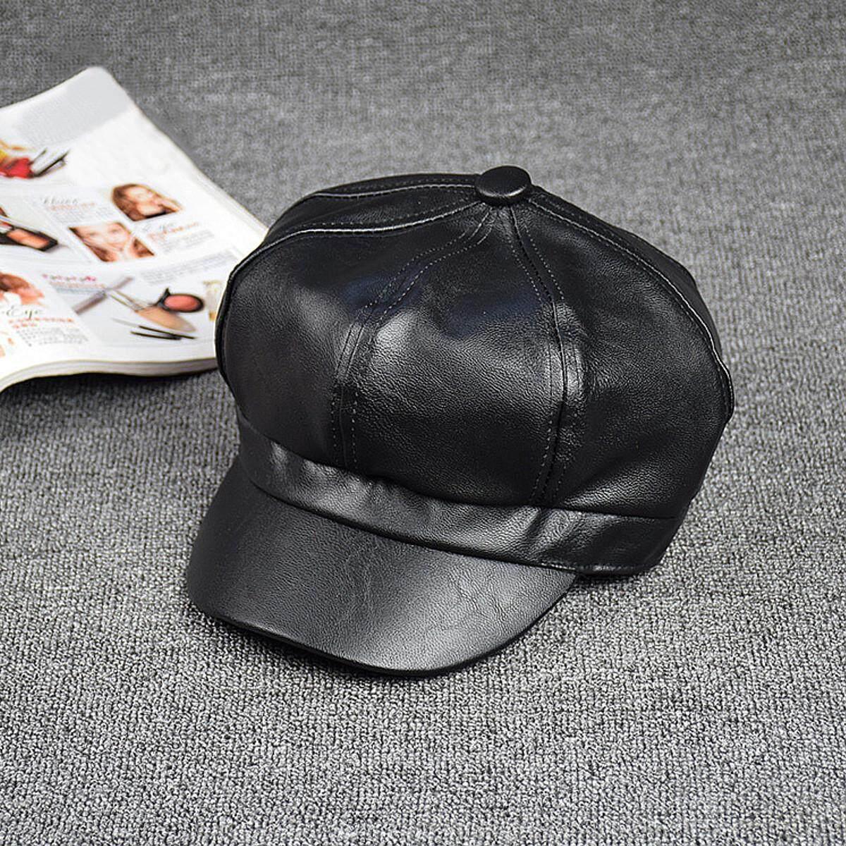 Wanita Kulit Hitam Topi Segi-delapan Baret Fashion Vintage Seniman Cap Kecantikan Topi Outdoor Topi Runcing-Intl