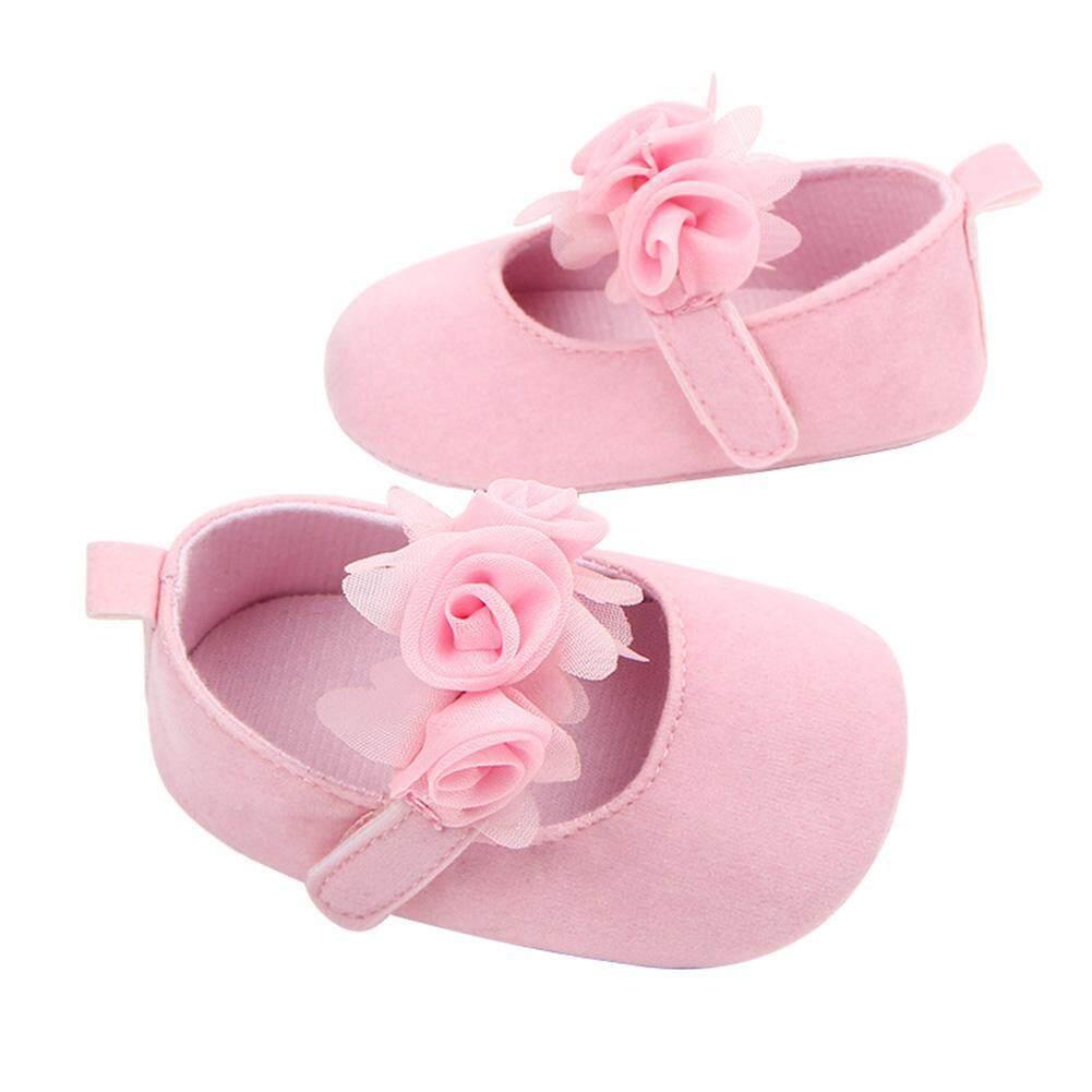 Lucu Bayi Perempuan Baru Lahir Sepatu Bunga Lembut Warna Solid Pertama Walkers -