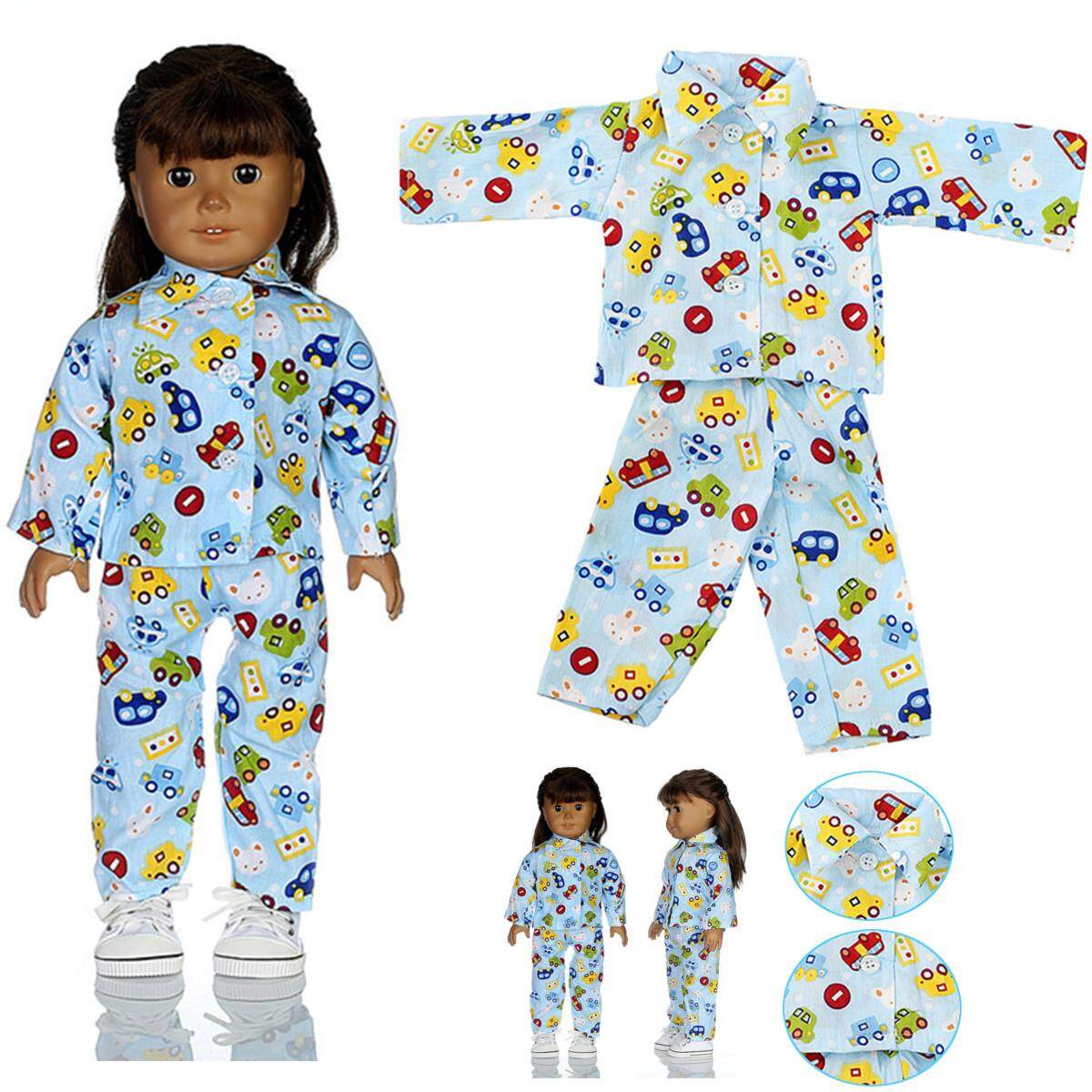b96a138466 Blue Doll Pajamas Nightgown Sleep Clothes Set Fits For 18 American Girl  Dolls By Freebang.