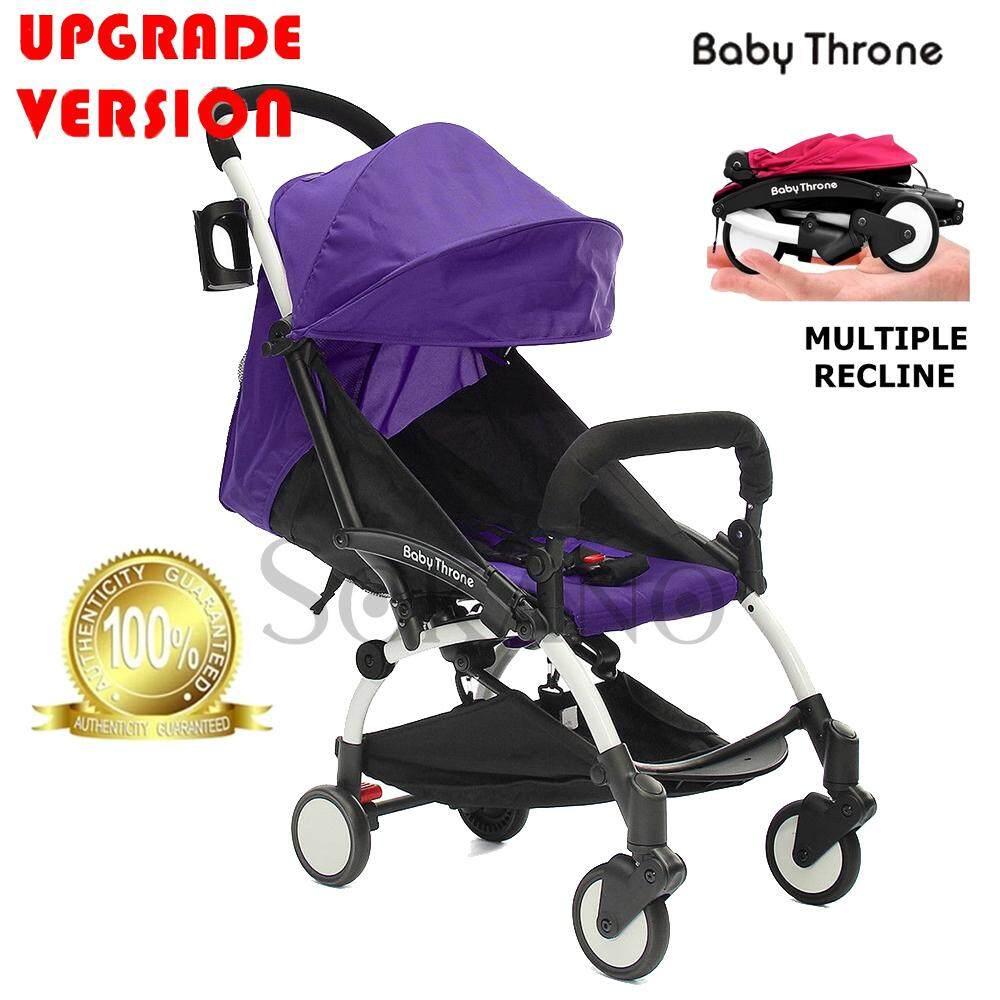 (RAYA 2019) (Upgrade Version) Baby Throne Premium Lightweight Multiple Recline Super Compact Foldable Stroller (100% Authentic)- Purple