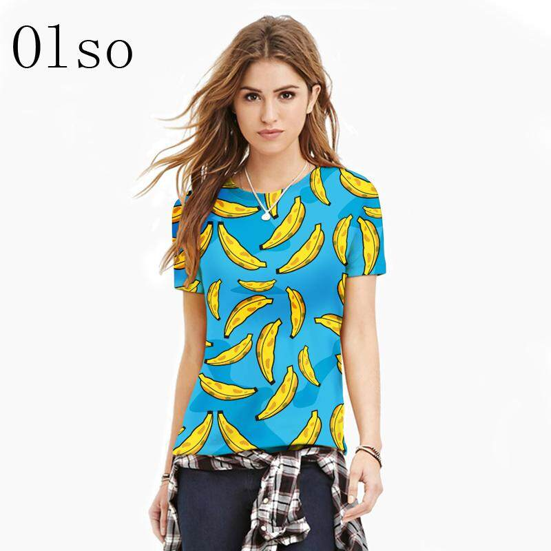 07f2e7e18cf1 New 3D Printed Banana Blue T shirts Short Sleeve Polyester Spandex Knitted  Casual Tee Tops