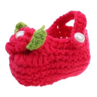 Harga preferensial Magideal Bayi Kapas Rajutan Tangan Anti-Slip Musim Dingin Sepatu Prewalker Bunga Merah