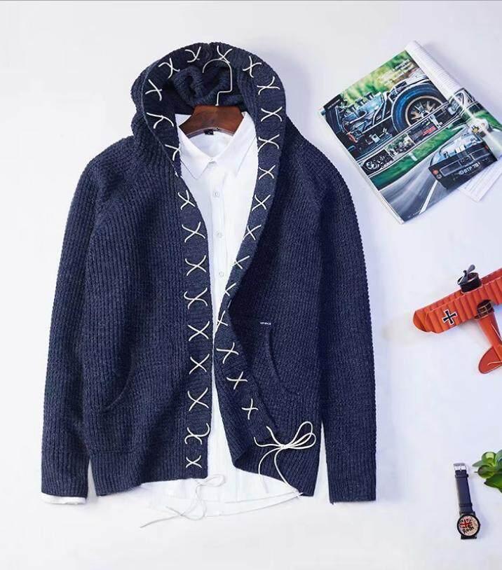 Vintage Merajut Berkerudung Jas Hujan Pria Tali Anyaman Topi Kardigan Sweater  Jaket c49480c90a