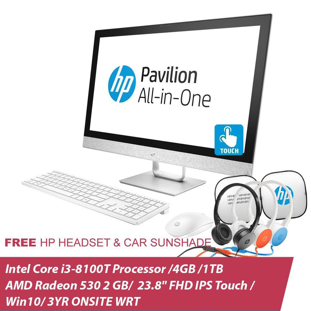 HP Pavilion Touchsmart 24-r131d All-In-One PC 4EA51AA 24-Inch/i3-8100T/4GB/1TB/R530 2GB+Free Headset