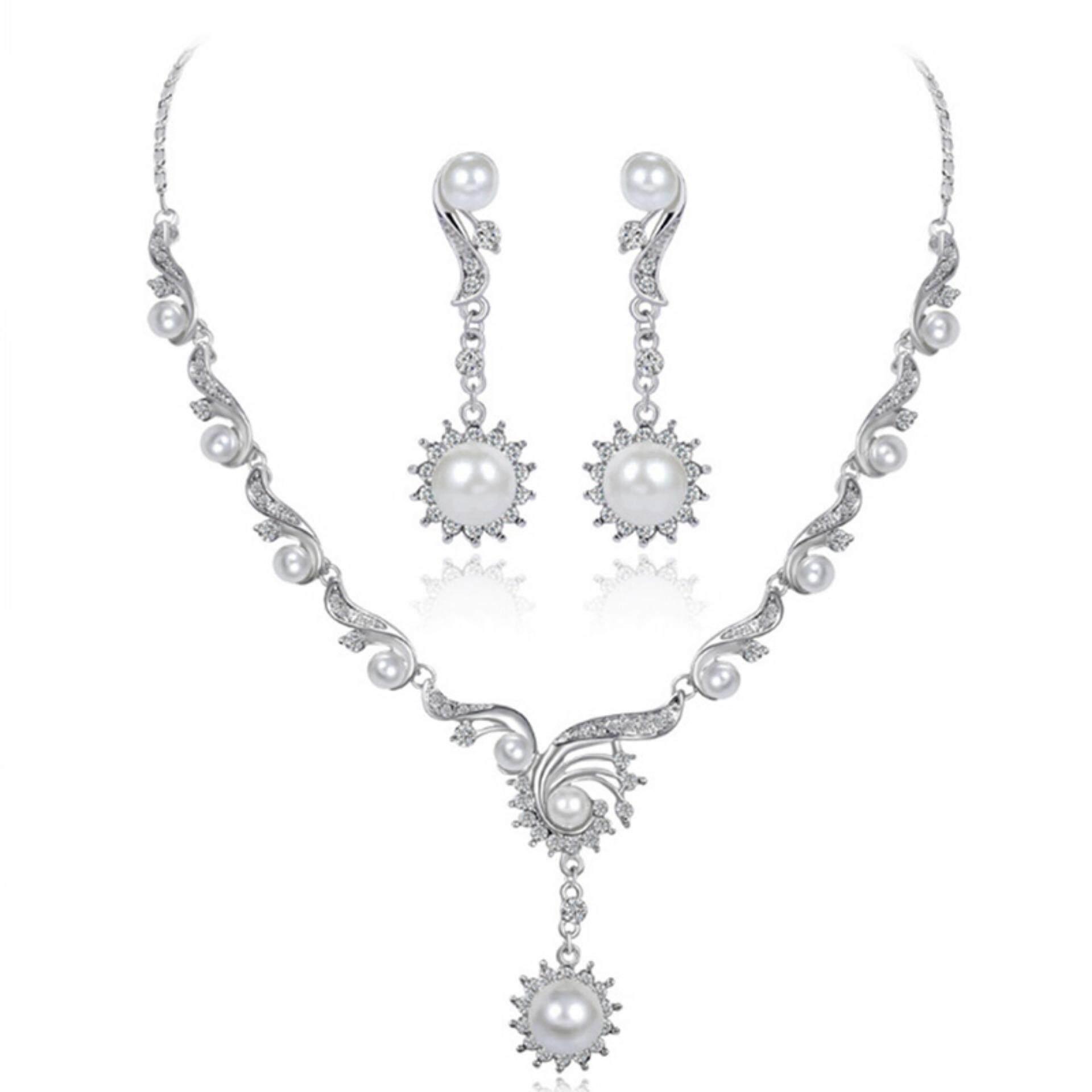 Pengantin Pernikahan Mutiara Imitasi Kalung Berlian Imitasi Anting-Anting Set Perhiasan Aksesoris Putih