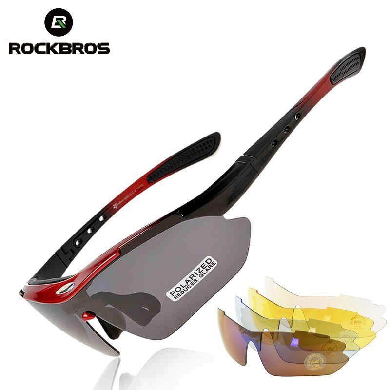 c3fa6e7ade15 ROCKBROS 5 Lenses Polarized Sports Sunglasses For Women Men Black UV400  Cycling Glasses For Bicycles Ciclismo