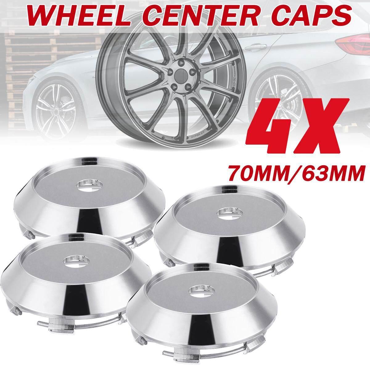 4pc Universal Chrome Car Wheel Center Rim Hub Cap Cover Decal Sticker 70mm/63mm By Elec Mall.