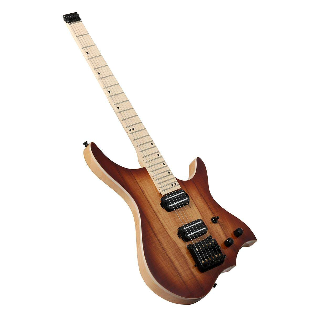 Solid Flame Maple Neck Electric Guitar Brown Spalted Maple Top Free Shipping - Intl By Audew.