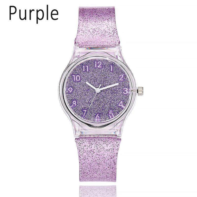 Nơi bán Women Shiny Quartz Watch Silicone Strap Glitter Round Dial Girl Casual Wristwatch - intl