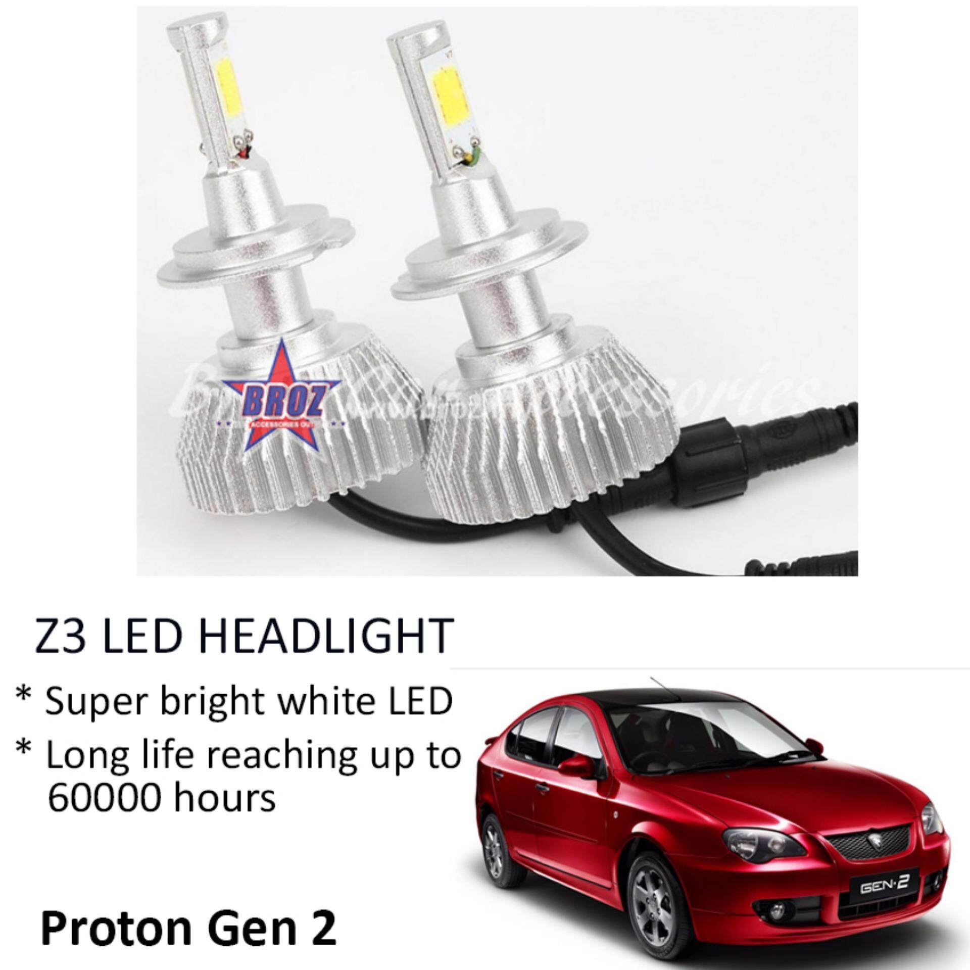 Proton Gen 2 (Head Lamp) Z3 LED Light Car Headlight Auto Head light Lamp 6000k White Light