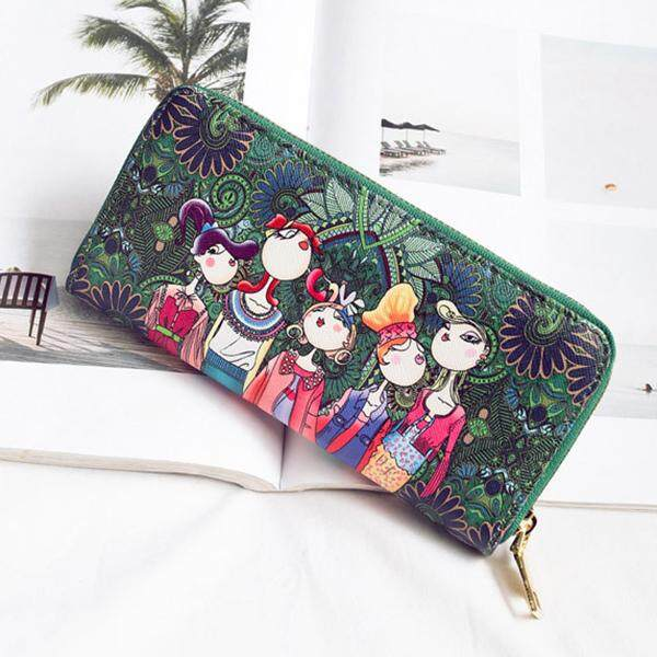Women Bohemian Long Wallet Multi-Function Phone Bags 4 Card Slot Purse By Glimmer.