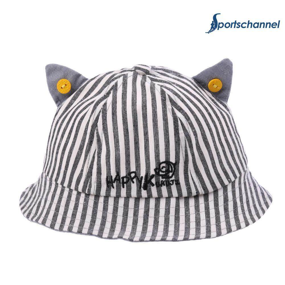 Hình ảnh Summer Unisex Baby Embroidered Letter Sun Hat Buttons Ears Stripe Print Cap