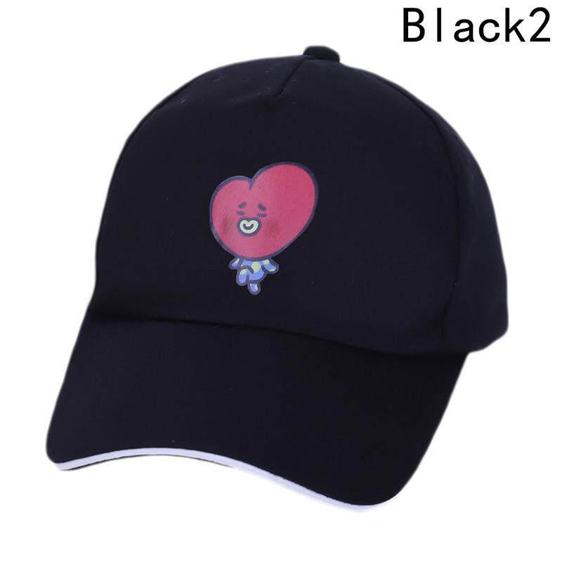 Kuhong Kpop Kartun BTS Topi Proteksi Matahari Musim Panas Topi Basebal Topi H02-Intl