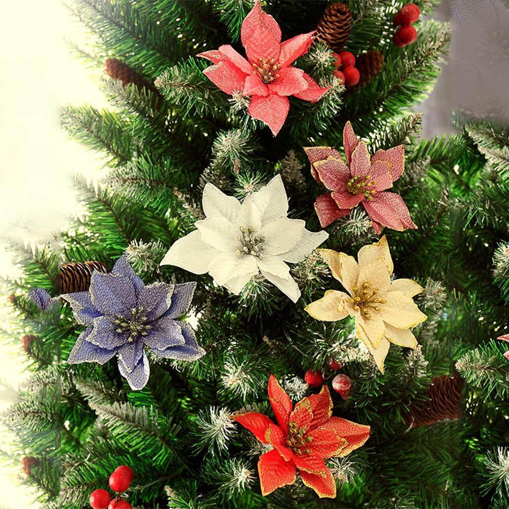 Per 15 Cm Tepian Emas Simulasi Bunga Natal untuk Pernikahan Pesta-Dekorasi  Untaian Daun Natal 9797f9e630