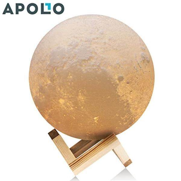 Apollo Box 4.7 Inch Pencetaka 3D Bulan Lampu smart Touch Kontrol Rechargeable LED Kampu Malam Bulan dengan Multi Warna untuk Kamar Tidur terbaik Lampu Meja untuk Bayi Anak & Pecinta, dengan Dasar Kayu/dari Amerika Serikat-Intl