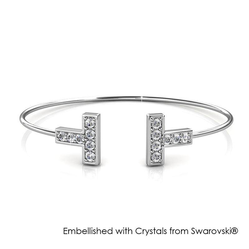 Her Jewellery Hermies Bangle (White / Rose Gold) embellished with Crystals from Swarovski