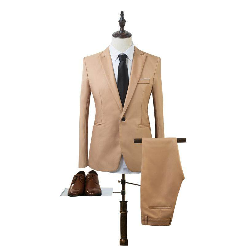 Ishowmall New Arrival Mens Formal Business Groom Wedding Slim Fit Button Suit Coat + Trouser 2pcs Set By Ishowmall.