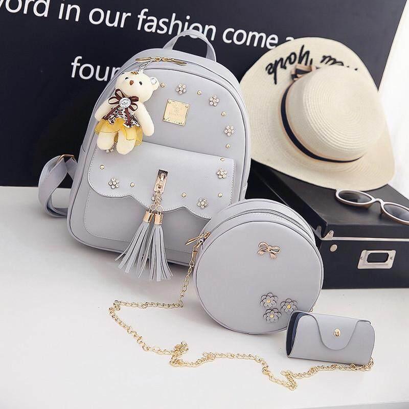 be8a5e833a  Flower Edition - Grey Trio Bear Fringe shoulder bag female Korean version  of the