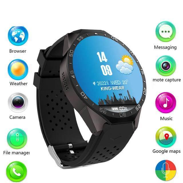 KW88 3G Wifi GPS Bluetooth Jam Tangan Pintar Android 5.1 MTK6580 CPU 1.39 Inch 2.0MP Kamera Jam Tangan Pintar untuk Iphone Huawei Ponsel Watch
