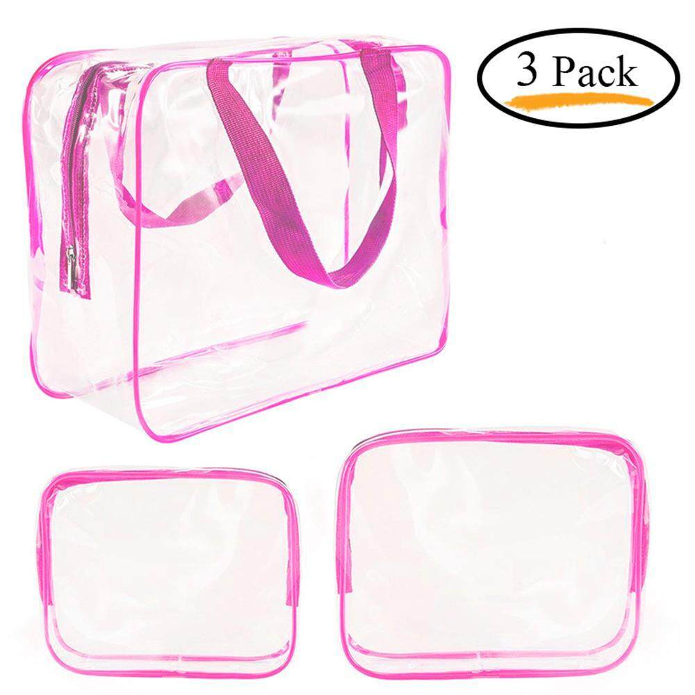 leegoal 3Pcs Crystal Clear Cosmetic Bag Travel Toiletry Bag Set For Women Men, Waterproof Packing Organizer Storage Diaper Pencil Bags Black