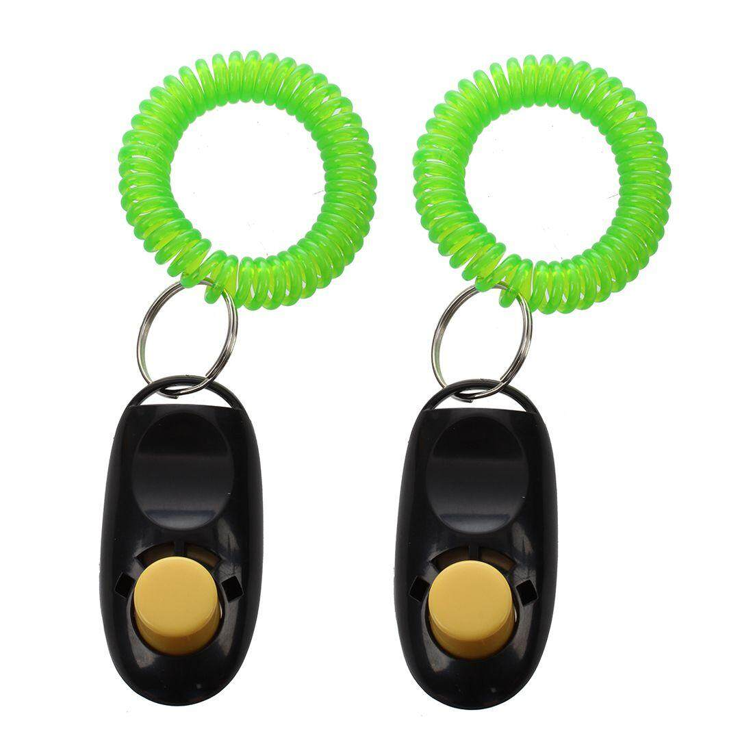 2pcs Pet Dog Cat Button Click Clicker Trainer Training Obedience Aid Wrist Strap Black By Yoyonow.