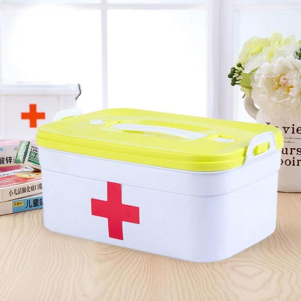 leegoal Empty First Aid Kit Family Medicine Chest Storage Box Household Plastic Drug Holder Case Medicine Cabine