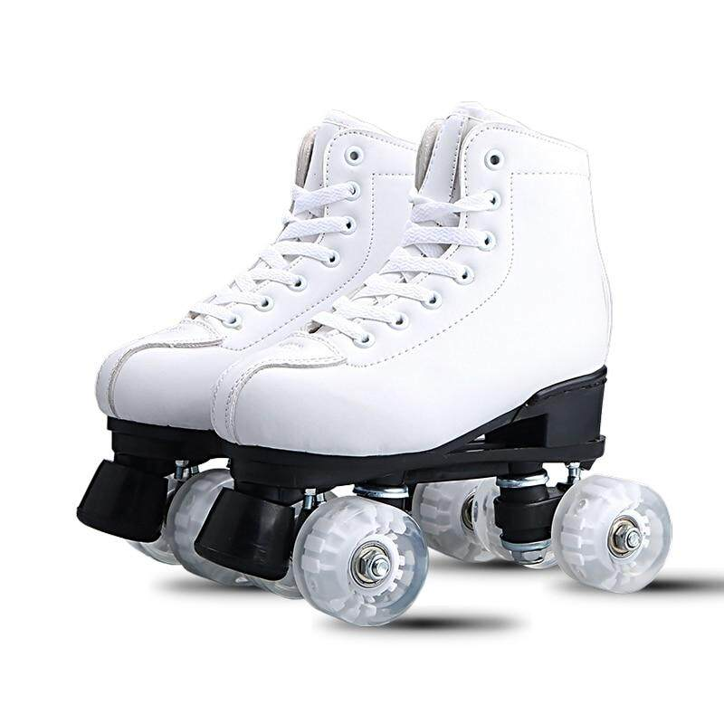 White Black Adult double-row skates Roller skates Adult male and female  double-row efc9c20a1