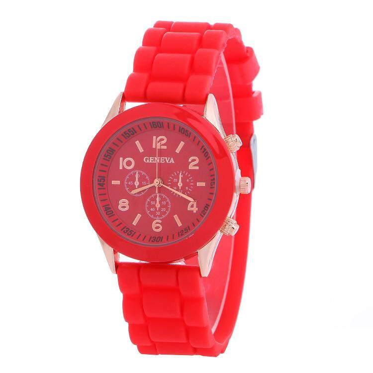 Hot Penjualan Merek Geneva Jam Tangan Silikon Wanita Ladies Fashion Berpakaian Arloji Kuarsa Jam Tangan Wanita