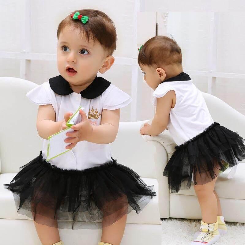 Baby Toddler Short Sleeves Crown Romper