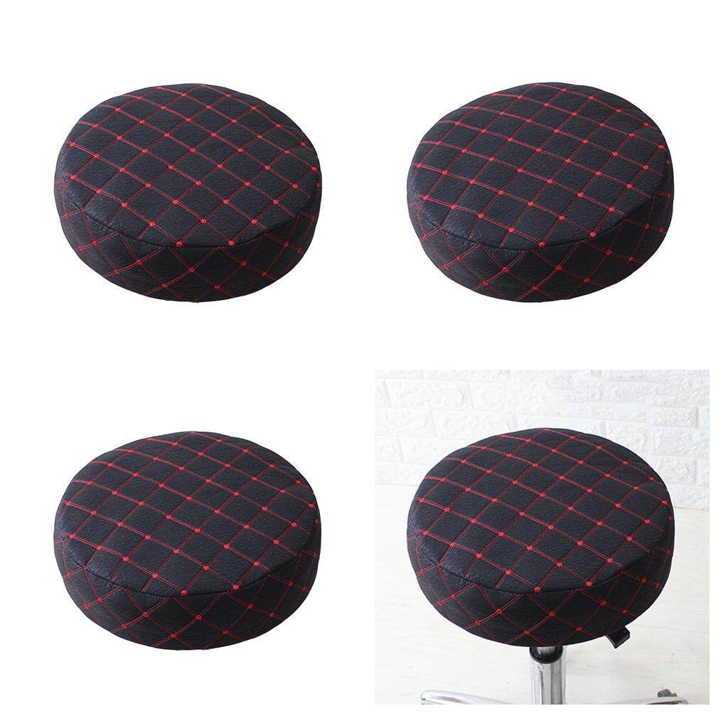 BolehDeals 4 Pieces Bar Stool Covers Round Chair Seat Cover Protector Cushion Pad Black