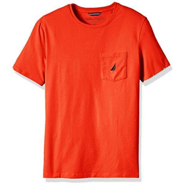 Nautica Mens Solid Crew Neck Short Sleeve Pocket T-Shirt, Spicy Orange, - intl