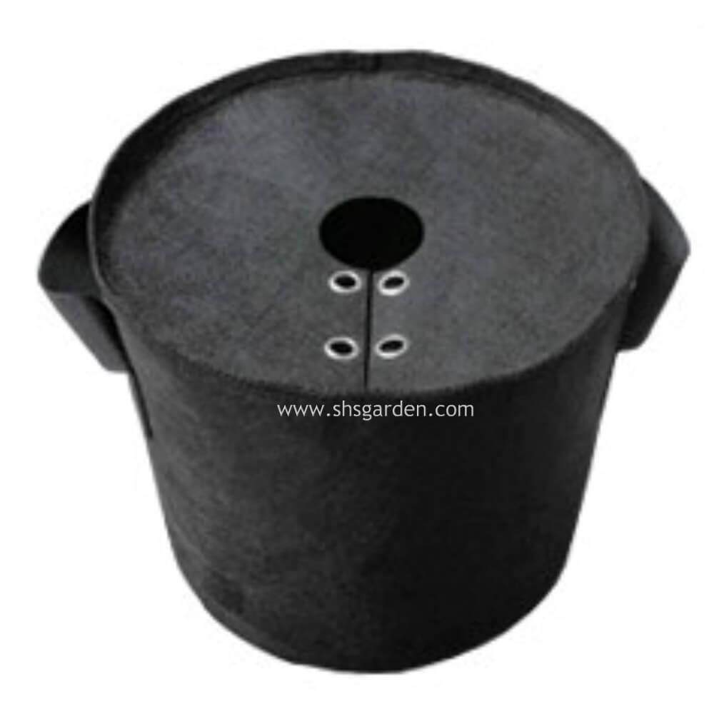 Small Black Nonwoven Planter Bag with Cover To Prevent Weeds from Growing 20 cm (Diameter) x 20 cm (Height) - approximately 2 gallon SHS Kebun