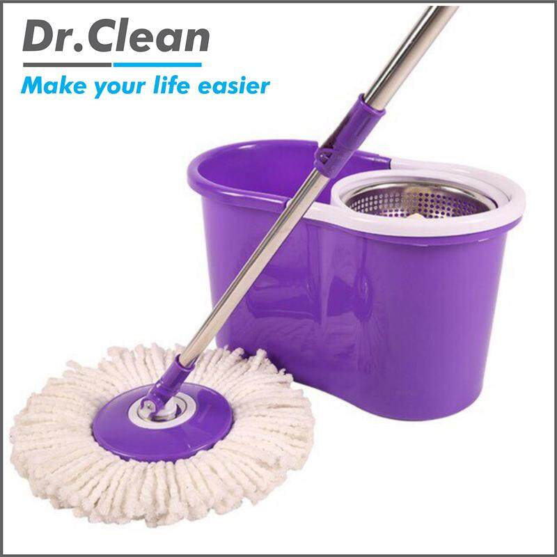 Easy Spin Mop Stainless Steel with 2 Microfibre Mop Heads (Purple/White)