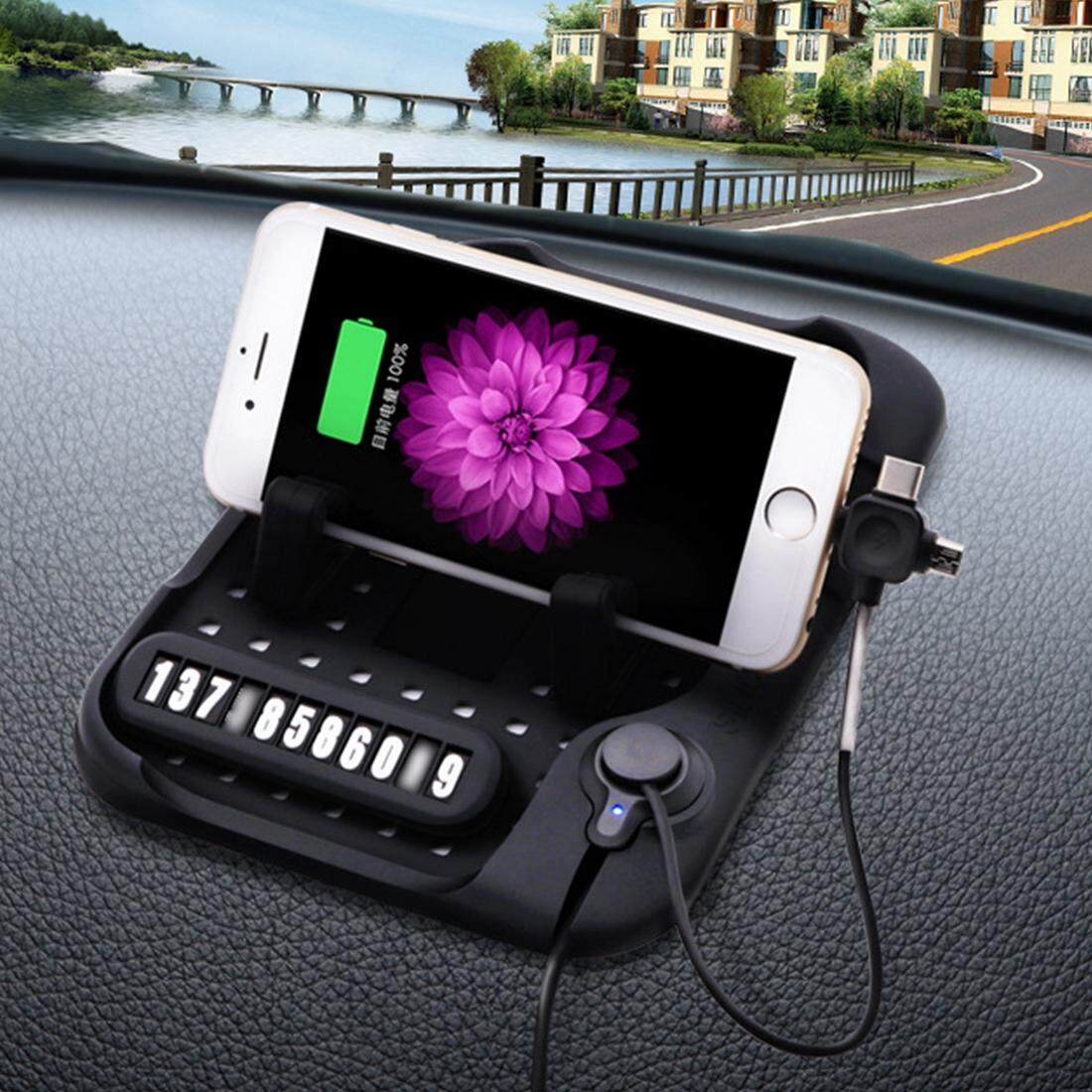 Silicone Pad Dash Mat Cell Phone Car Mount Holder Cradle Dock With 3 in 1 Charging