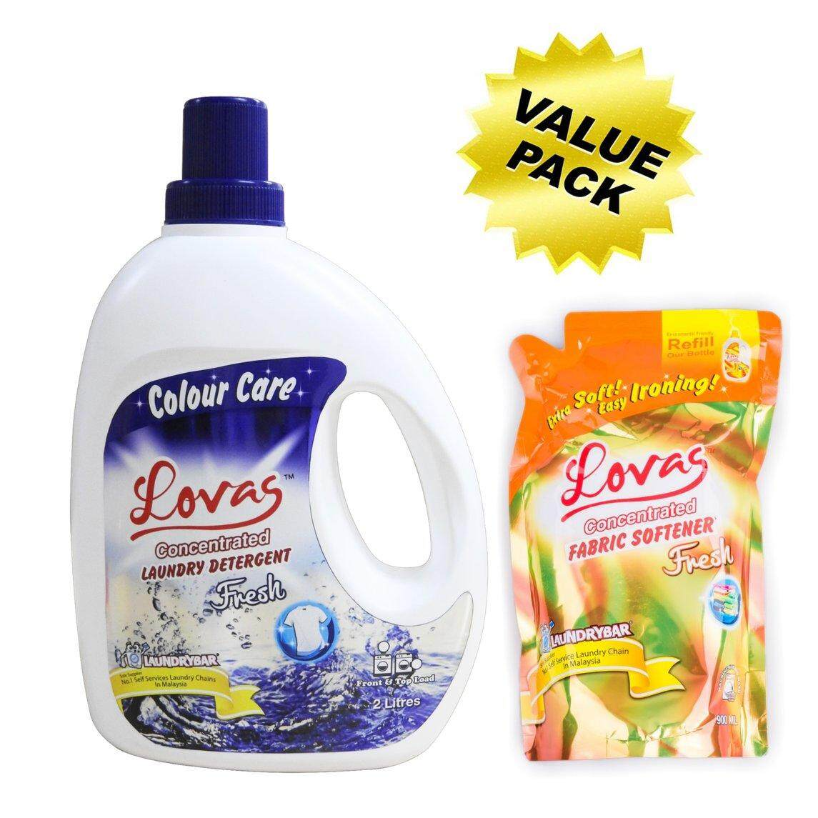 Value Pack - LOVAS Concentrated Laundry Detergent (2L) + LOVAS Concentrated Fabric Softener (900mL Refill Pack)