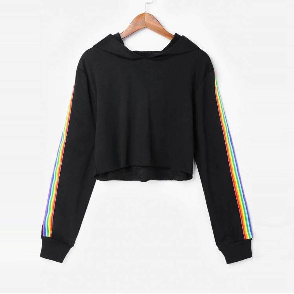 a3c17d03371 FashionDoor Womens Long Sleeve Striped Crop Hoodie Sweatshirt Jumper Hooded Pullover  Top