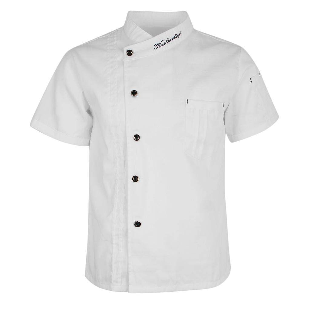 Magideal Unisex Chef Jackets Coat Short Sleeves Shirt Kitchen Uniforms White L By Magideal.