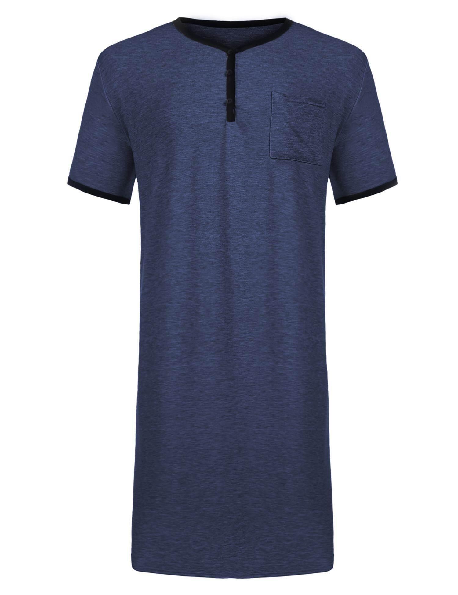 High Quality Sunwonder Men Comfort Short Sleeve Nightshirt Nightgown Big Tall Sleep Shirt Nightwear(black) - Intl By Sunwonder.