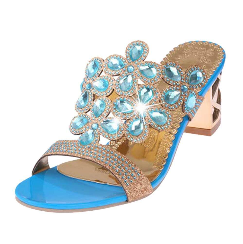 90a1ec394 Shoes for Women Girls New Women Summer Fashion Flip Flops High Heel Sandals  Fat Girls Rhinestone