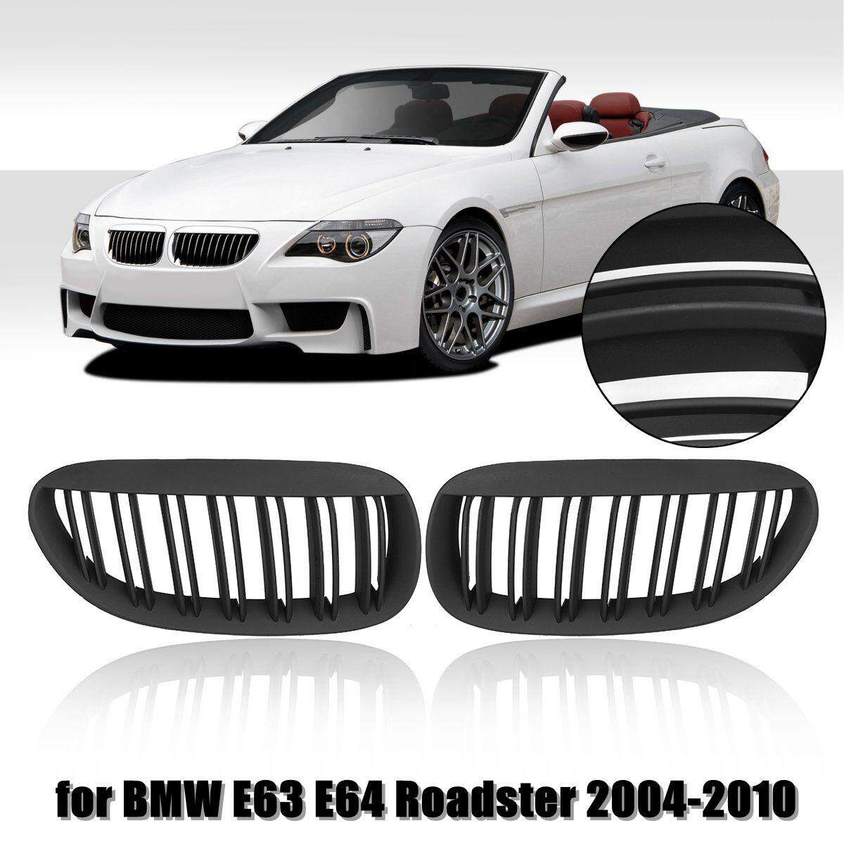 Pair Matte Black Double Line Front Grille Kidney For BMW E63 E64 Roadster 04-10