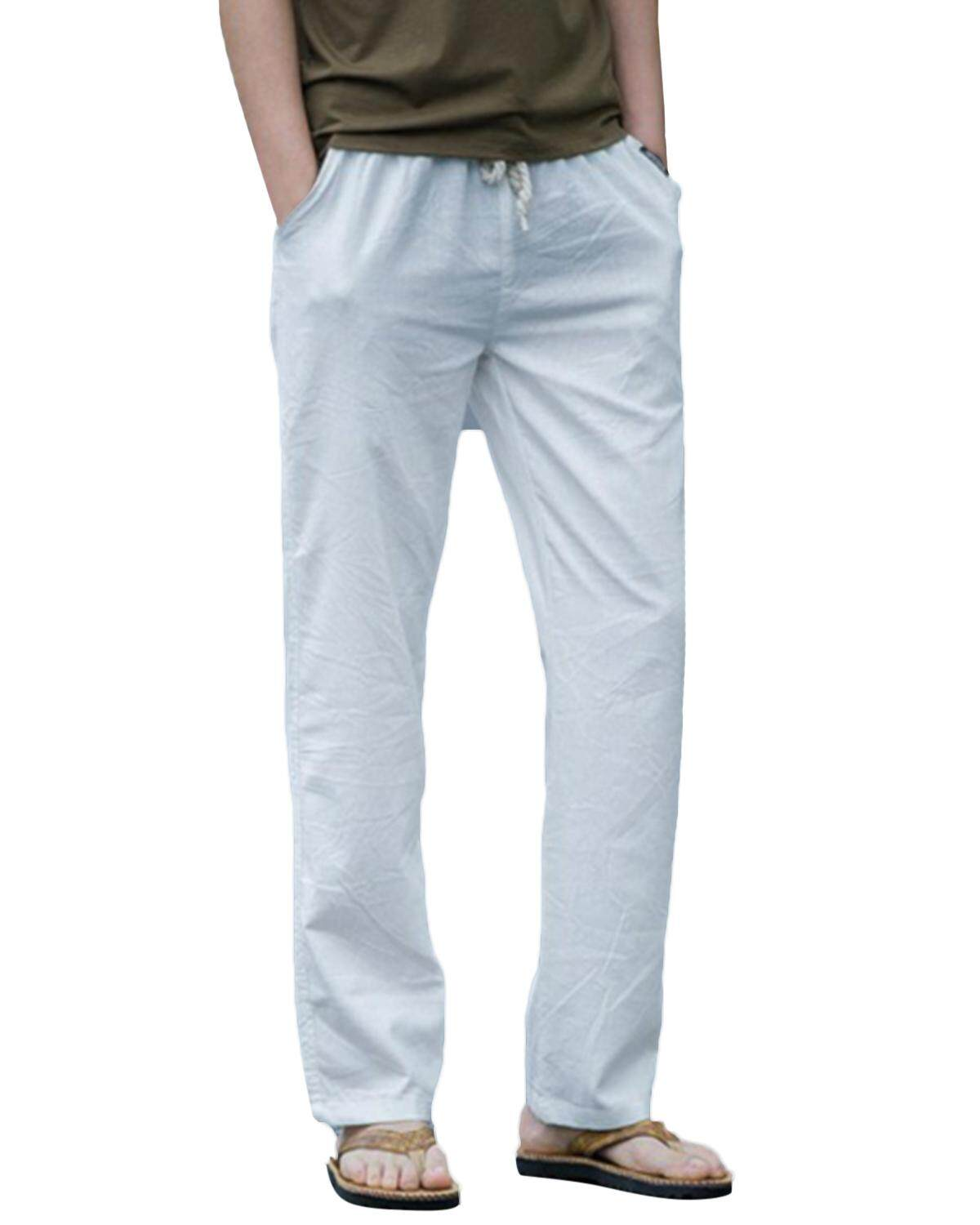 Mens Casual Breathable Cotton Linen Regular Fit Drawstring Solid Color Pants White Intl Sale