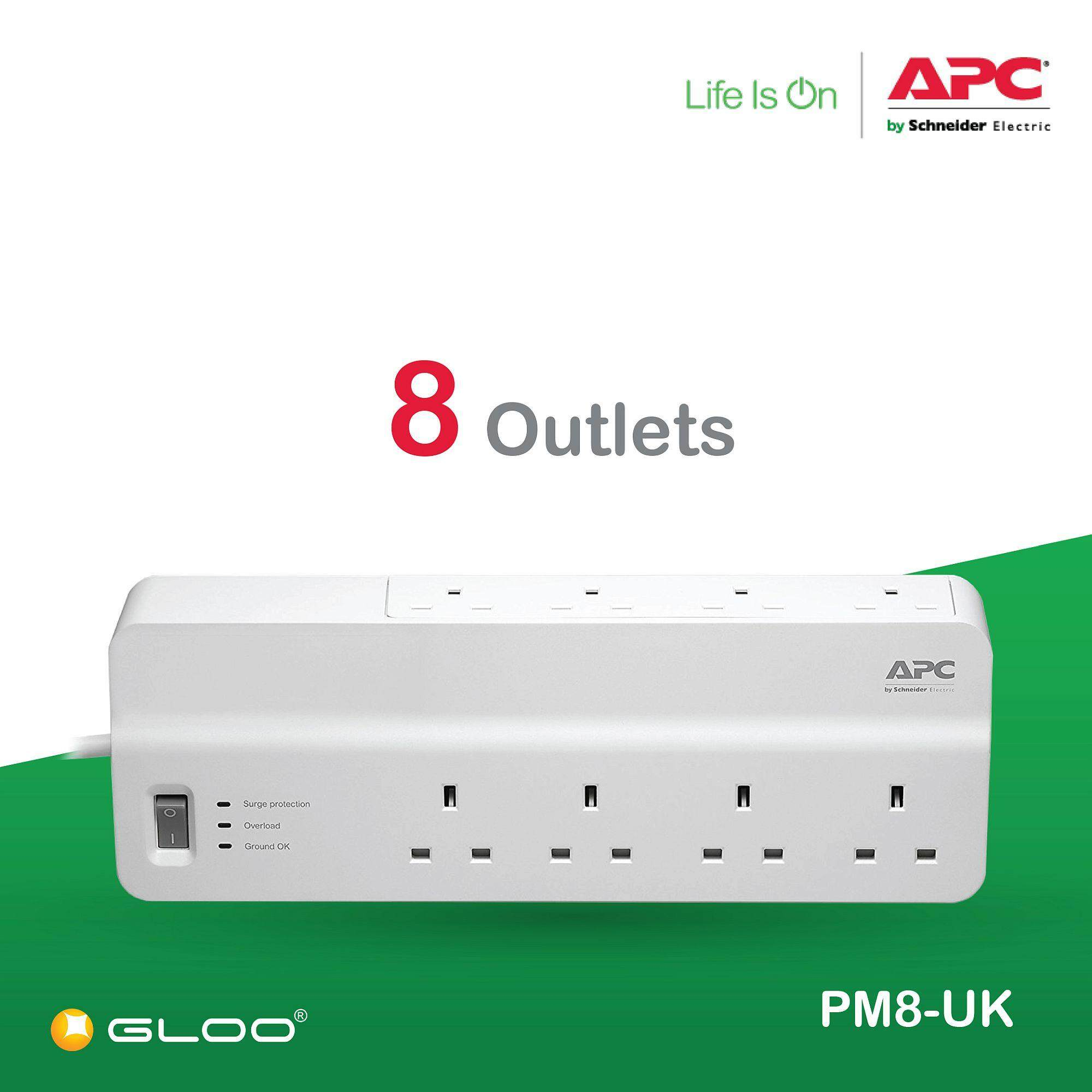 APC Essential SurgeArrest 8 outlets 230V UK PM8-UK - White [Free RM20 BHP Petrol Voucher from 29 Aug - 16 Sept 2019]