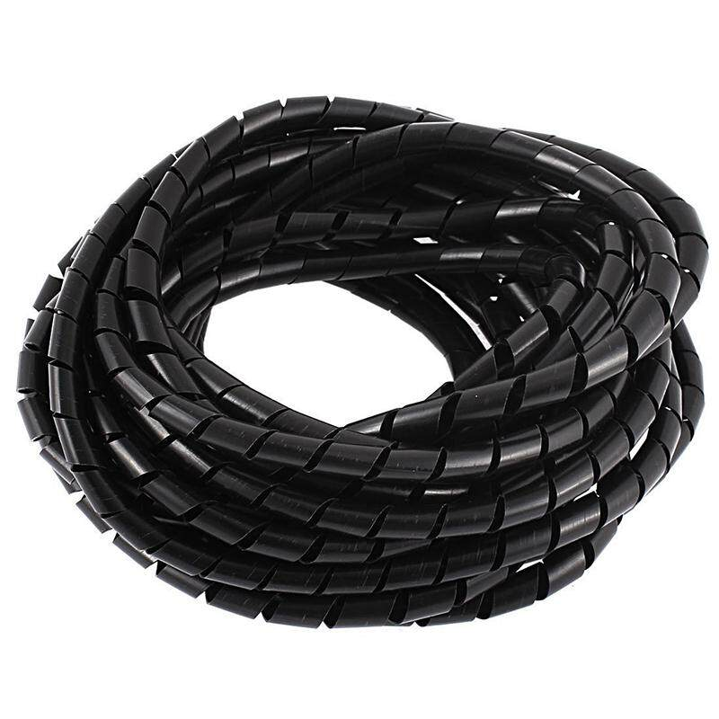 8M 25ft 8mm Black Wire Spiral Wrap Sleeving Band Tube Cable Protector