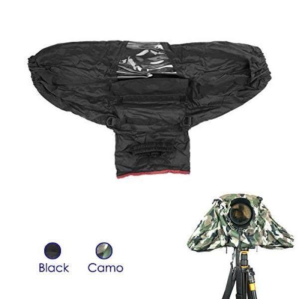 Forapid Deluxe Profesional Kamera Pelindung Hujan Jas Hujan Jaket Hujan Tahan Air Pelindung Hujan Penutup Pelindung Lengan untuk Perkakas Bertualang Panasonic Pentax Olympus Fuji DSLR dengan Lensa Panjang Hitam -Intl